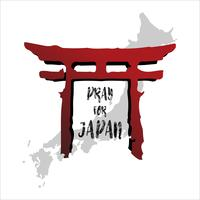 Pray for Japan. Abstract background concept. Red temple column Isolated white background with Japanese map.