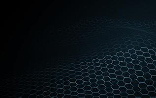 Blue wave surface blockchain technology and science abstract background. Music equalizer of hexagon network wire frame illumination texture pattern. New technology particle digital concept wallpaper vector