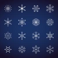 Conjunto de iconos de copos de nieve de invierno. Iconos de diseño plano. Vectores de ilustración para Navidad y año nuevo día. Dibujado a mano abstracto y línea. Conjunto fiesta temática fiesta de nieve y evento congelado.