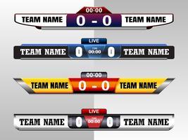 Tableau graphique modèle d'écran numérique pour la diffusion de football, football ou futsal, modèle de conception illustration vectorielle pour match de la ligue de football. Conception de fichiers vectoriels EPS10