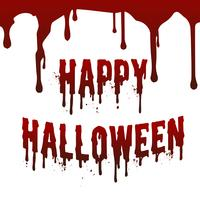 Happy Halloween day drop down blood stain splashing text messenger on invisible white wall. Vector illustration. Holiday and religious concept. Scary horror and fear theme.