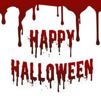 Glücklicher Halloween-Tag lassen Blutfleck fallen, der Textboten auf unsichtbarer weißer Wand spritzt. Vektor-illustration Feiertag und religiöses Konzept. Gruseliges Horror- und Angst-Thema.