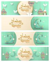 Template for Ramadan Kareem with green and gold color. 3D Vector illustration design in paper cut and craft  for islamic greeting card, invitation, book cover, brochure, web banner, advertisement.