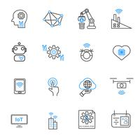 Internet of things and Automation robotic icons. Technology and Futuristic concept. Illustration vector collection set. Sign and Symbol theme.