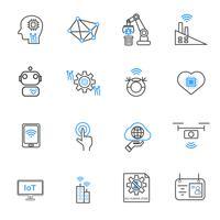 Internet der Dinge und Roboterikonen der Automatisierung. Technologie und futuristisches Konzept. Illustrationsvektorsammlungssatz. Zeichen- und Symbolthema.