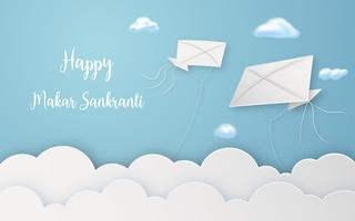 Happy Makar Sankranti festival with flying kites in air digital craft. Religious and Celebration festival concept. Paper art and papercraft graphic design Vector illustration decoration card