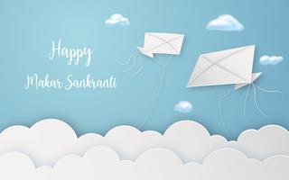 Happy Makar Sankranti Festival mit fliegenden Drachen in Luft digitales Handwerk. Religiöses und Feierfestivalkonzept. Papierkunst und papercraft Grafikdesign Vektorillustrations-Dekorationskarte