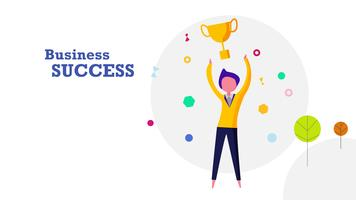 Business success flat design background. Happy human throwing golden winner award trophy into the air. Business and achievement concept. vector