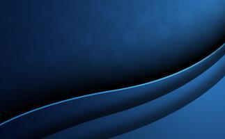 Blauwe abstracte honingraat achtergrond met kromme voorgrond. Behang en textuurconcept. Minimaal thema. Vector illustratie. Golf en schaduwstijl