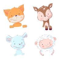 Reeks leuke bos en huisdieren - schapen en hanenkam, muis en herten, vectorillustratie in beeldverhaalstijl