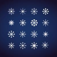 Winter Snowflakes pictogrammen instellen. Platte ontwerp pictogrammen. Illustratievectoren voor Kerstmis en Nieuwjaarsdag. Hand getrokken abstract en lijn.