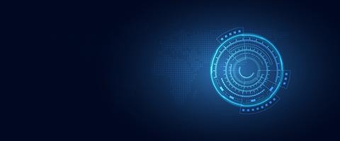 Blauer Hintergrund der futuristischen Digitaltransformations-Zusammenfassungstechnologie. Künstliche Intelligenz und Big Data-Konzept. Geschäftswachstumscomputer und Zerhacken des Internetsicherheitsthemas. Vektor-illustration