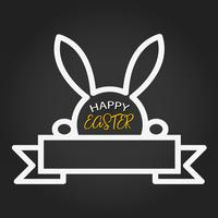 Happy Easter template with blank space ribbon and rabbit on dark background. Vector illustration. Design layout for invitation card, greeting card, banner poster, and gift voucher. Black Chalkboard