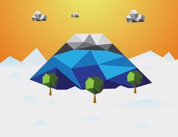 Montagna in inverno Sfondo low poly. Montagna e nuvole e alberi in componente. Concetto di natura e paesaggio. Concetto astratto e sfondo. Tema dell'ambiente e del clima tropicale. Fujisan Giappone