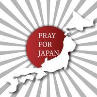 Reze pelo Japão. Conceito abstrato do fundo. Fundo cinzento branco da explosão do sol do ponto vermelho. Para fazer publicidade doar de inundação de terremoto e um tsunami em Hokkaido Kumamoto cidade no mapa de Japão