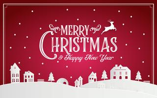 Merry Christmas and Happy New Year 2019 of snowy home town with typography font message. Red pink paper art and digital craft Illustration vector celebrate invitation wallpaper card. Holiday winter