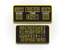 Digital score board for sport information. Illustration vector. Scoreboard of football or soccer. Large digital billboard of stadium concept.