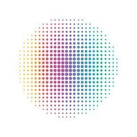 Linha de ponto circular do arco-íris. Conceito abstrato e colorido. Vetor de ilustração de meio tom