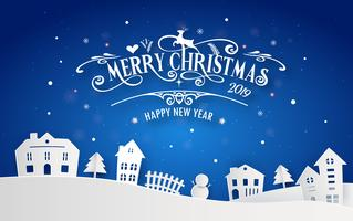 Merry Christmas and Happy New Year 2019 of snowy home town with typography font message. Blue color Paper art and digital craft Illustration vector celebrate invitation wallpaper card. Holiday winter