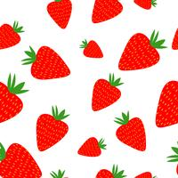 Strawberries seamless pattern on the white background