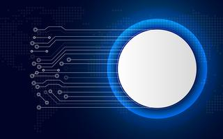 Weißer Technologiekreisknopf auf blauem abstraktem Hintergrund mit weißer Linie Leiterplatte. Geschäft und Verbindung. Futuristisches und Industrie 4.0 Konzept. Thema Internet-Cyber und Netzwerk.