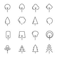Tree and plant icon set vector. Sign and symbol concept. Nature and Environment concept. Thin line icon theme. White isolated background. Illustration vector.