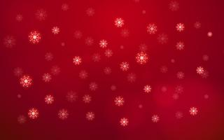 Abstract white snow flake falling from sky on red background. Merry Christmas and happy new year day concept. Beautiful Xmas decoration card glitter element theme. World holiday and seasonal theme.