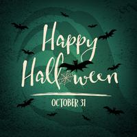 Happy Halloween day with witch hand shadow in background. Bats and spider web elements. Holiday and festival concept. Ghost and horror theme. Greeting card and decoration theme. Vector illustration