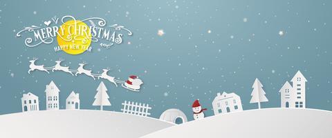 God jul snöig stad dag natt och gott nytt år blå julfestival slutet år fest silhuett julgransdekor och hjort dekoration hälsningskort abstrakt tapet bakgrund. Grafisk design vektor