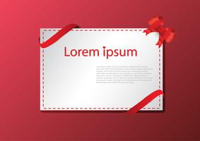 Greeting card with red ribbon on the red background