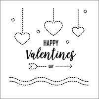Happy Valentines Day greeting card with dash line. Graphic design and Holiday love concept. Vector illustration