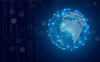 La tecnología azul circula y el fondo abstracto de la informática con la matriz del código azul y binario. Negocio y conexión. Concepto futurista e industrial 4.0. Internet ciber y tema de red.