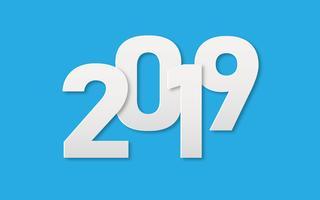 Libro de texto de 2019 White Art para el fondo de la bandera de año nuevo. Corte de papel y concepto de arte. Feliz navidad y feliz año nuevo tema. Diseño gráfico de la etiqueta de arte digital minimalismo. Ilustración vectorial