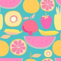 Padrão sem emenda com fundo de frutas. Ilustrações vetoriais para design de embrulho.