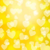 Gelbes Gold-Bokeh-Herz, Muster, Vektor