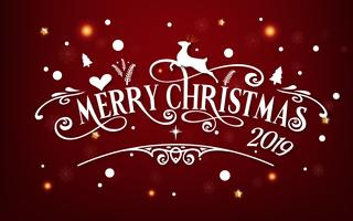 Merry Christmas day 2019. Happy new year and Xmas festival end year party message text  calligraphy decoration greeting card abstract wallpaper background. Holiday paper art graphic design vector.