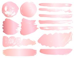 Série de coups de pinceau, coups de pinceau grunge en or rose. Illustration vectorielle
