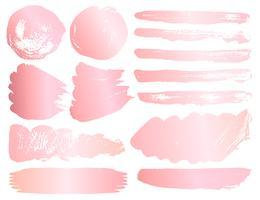 Set med penselslag, Rosa guldgrungeborstslag. Vektor illustration.