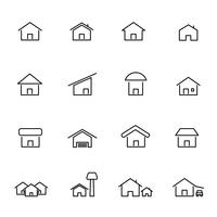 Vettore stabilito dell'icona della casa e della casa. Costruzione vivente e concetto di simbolo. Tema icona linea sottile. Sfondo bianco isolato. Illustrazione vettoriale.