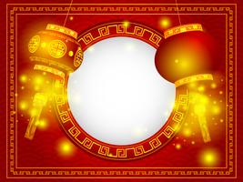 chinese happy new year with lantern vector