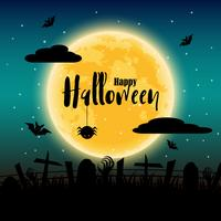 Happy Halloween day with full moon in background. Bats and spider and corpse elements. Holiday and festival concept. Ghost and horror theme. Greeting card and decoration theme. Vector illustration