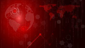Rode technologiecirkel en computerwetenschaps abstracte achtergrond. Bedrijf en verbinding. Futuristisch en industrie 4.0-concept. Internet cyber en netwerkthema.