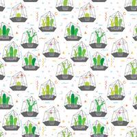 Cactus en terrarios de vidrio con fondo de patrón geométrico. Ilustraciones vectoriales para el diseño de papel de regalo.