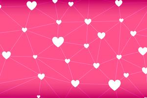 Heart-shape network abstract vector in pink background
