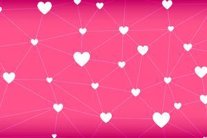 Vecteur abstrait de réseau en forme de cœur sur fond rose