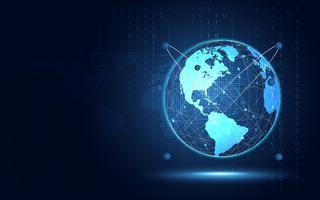 Fondo azul futurista de la tecnología del extracto de la tierra. Inteligencia artificial de transformación digital y concepto de big data. Concepto de comunicación de la red de internet cuántica de negocios. Ilustración vectorial