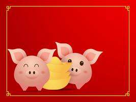 couple cute  pig and gold on red background