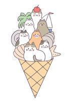Vector lindo de los gatos del verano de la historieta y del helado.