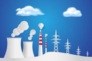 Fábrica industrial na natureza Papel arte de fundo. Conceito de usina elétrica. Tema do meio ambiente.