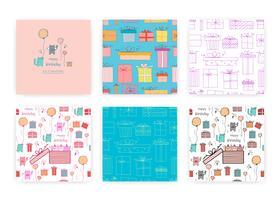 Conjunto de padrão sem emenda com gato bonito e caixa de presente. Ilustrações de fundo para design de embrulho.